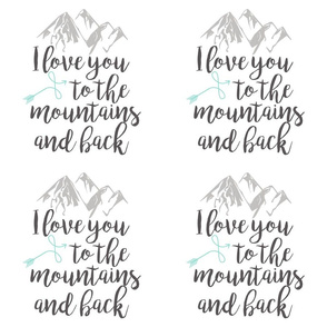 9 inch - Love you to the mountains and back - Mint