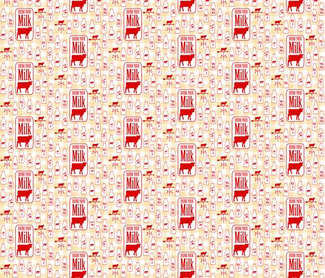 Drink Your Milk Modern Farmhouse on Gingham Check fabric by twix on Spoonflower - custom fabric