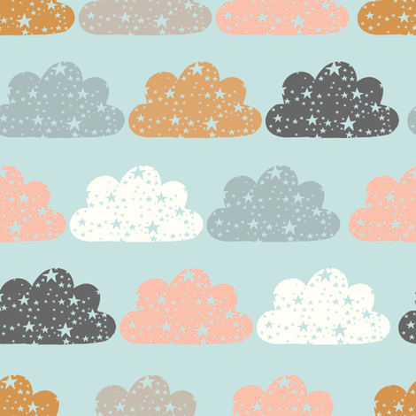 starry clouds blue fabric by littlefoxhill on Spoonflower - custom fabric