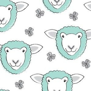 teal sheep and clover