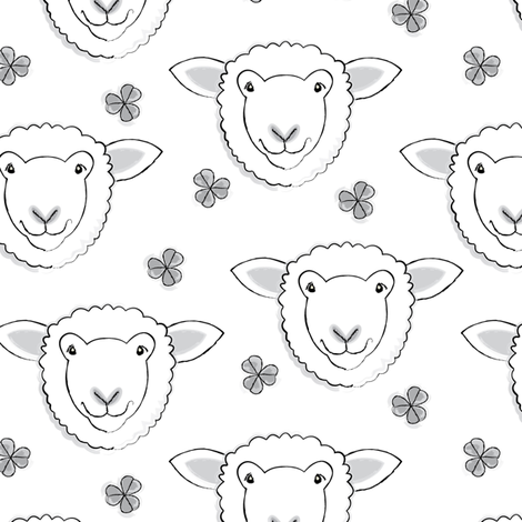 white sheep and clover fabric by lilcubby on Spoonflower - custom fabric