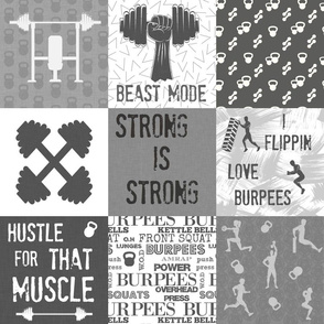 Crossfit quilt 6in squares, fitness and gym, weight lifting