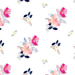 Babylon Cute Pink and Navy Blue Painted Watercolour Flowers