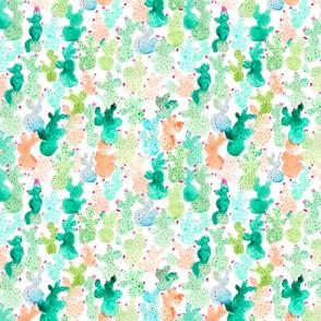 Arizona Cute, Painted Watercolour Cactus Pattern