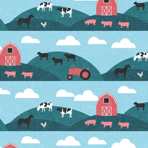 farm themed fabric rolling hills