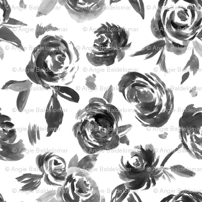 Frida Black and White Painted Floral Modern Pattern