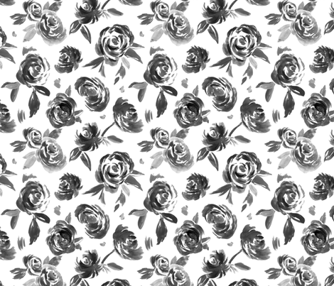 Frida Black and White Painted Floral Modern Pattern fabric by angiemakes on Spoonflower - custom fabric