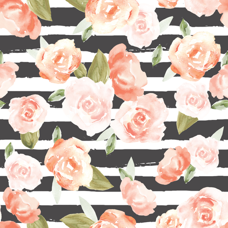 Frida Pastel Watercolour Flowers in Blush Pink with Black Stripes fabric by angiemakes on Spoonflower - custom fabric
