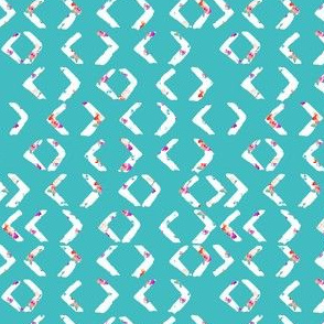 Berry Flower Watercolor Arrows Tribal Pattern with Teal Background