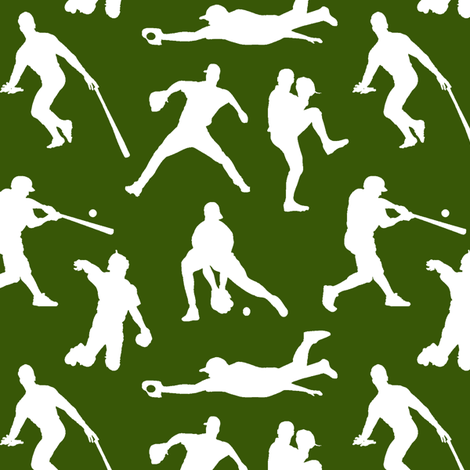 Baseball Players on Green // Small fabric by thinlinetextiles on Spoonflower - custom fabric