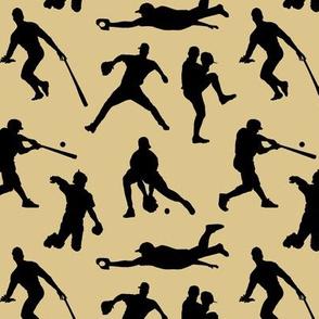 Baseball Players on Tan // Small