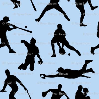 Baseball Players on Baby Blue // Large