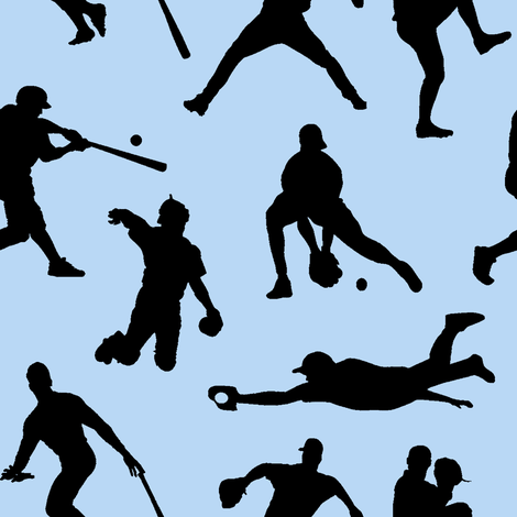 Baseball Players on Baby Blue // Large fabric by thinlinetextiles on Spoonflower - custom fabric