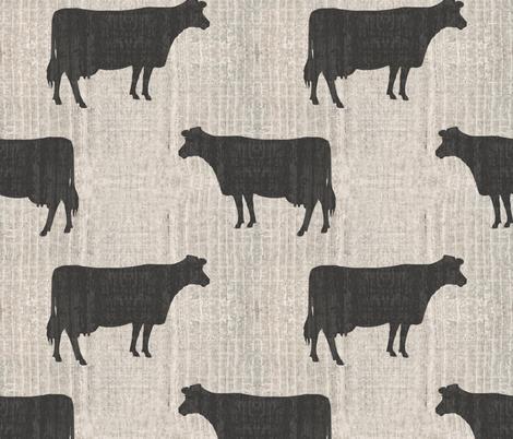 Cows Silhouettes Cream Barn Boards fabric by linda_baysinger_peck on Spoonflower - custom fabric