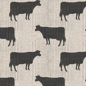 Cows Silhouettes Cream Barn Boards