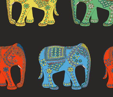 JEWEL ELEPHANTS - MULTICOLOUR fabric by kimberleyrenwick on Spoonflower - custom fabric
