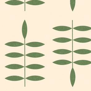 Green Leaves, off white background