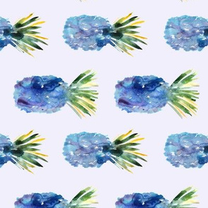Watercolor blue pineapples, surreal tropical pattern for nursery/ kids