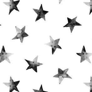 Watercolor grey stars pattern, black and white design for modern nursery