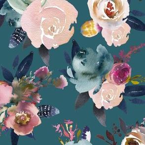 indigo floral jade