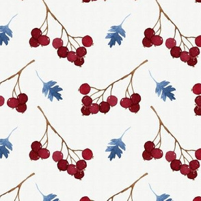Red watercolor berries and blue leaves seamless pattern