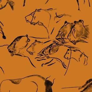 Chauvet Cave Art on Yellow Ochre // Large