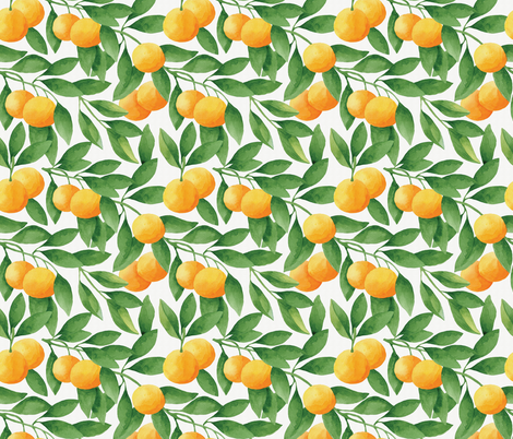 Watercolor Tangerines Seamless Pattern fabric by helga_wigandt on Spoonflower - custom fabric