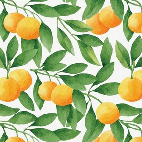 Watercolor Tangerines Seamless Pattern
