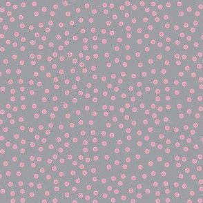Twinkling Pink Dots on Mystic Grey - Medium Scale