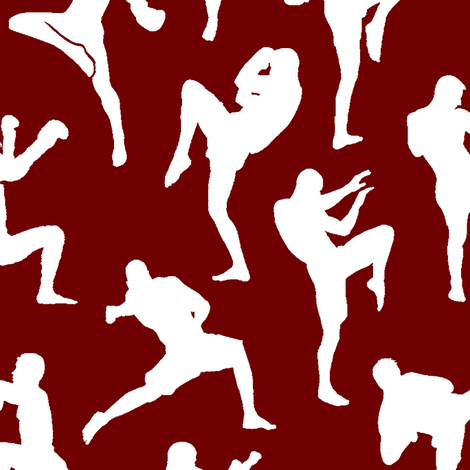 Muay Thai on Burgundy // Large fabric by thinlinetextiles on Spoonflower - custom fabric