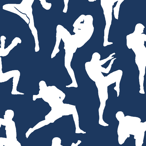 Muay Thai on Navy // Large fabric by thinlinetextiles on Spoonflower - custom fabric