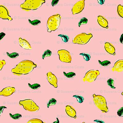 Watercolor Lemon Pink