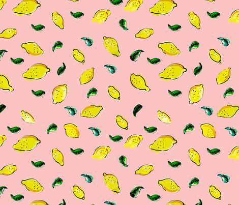 Watercolor Lemon Pink fabric by bruxamagica on Spoonflower - custom fabric