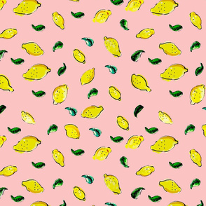 Watercolor Lemon Pink