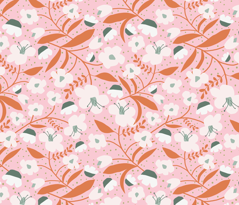 Hand Cut Blooms // on Pink fabric by beshkakueser on Spoonflower - custom fabric
