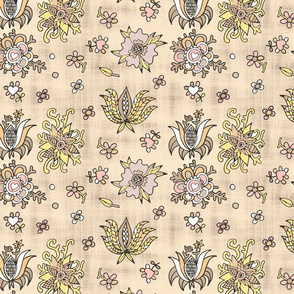 folk flowers on canvas beige