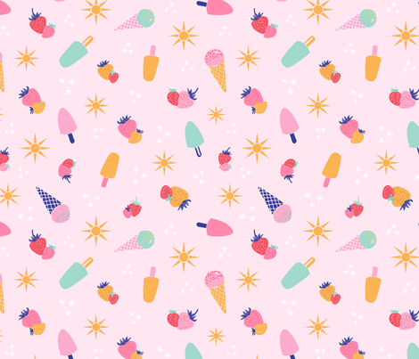 strawberries and ice cream pink fabric by vivdesign on Spoonflower - custom fabric