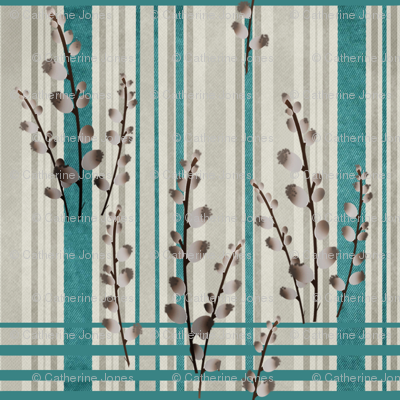 Pussy Willow on Denim and Linen