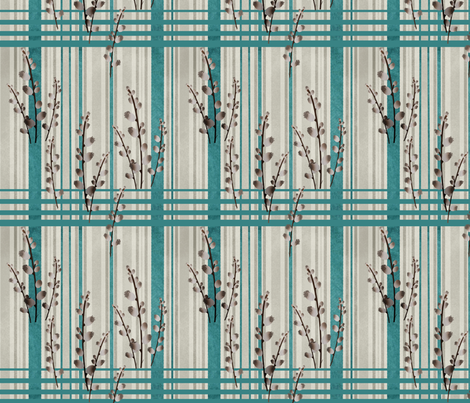 Pussy Willow on Denim and Linen fabric by della_vita on Spoonflower - custom fabric