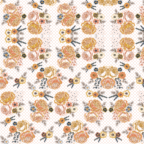Fall French Roses (white) fabric by helenpdesigns on Spoonflower - custom fabric