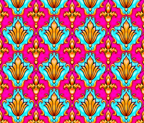 Princess damask, hot pink and turquoise fabric by beesocks on Spoonflower - custom fabric