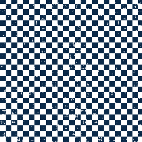 Gingham - Distressed Navy Blue & White fabric by heatherdutton on Spoonflower - custom fabric