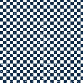 Gingham - Distressed Navy Blue & White