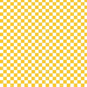 Gingham - Distressed Yellow & White