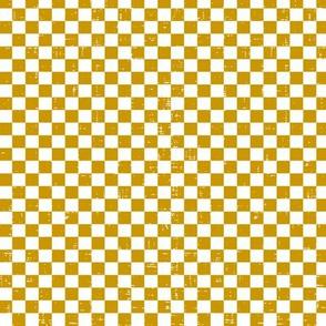 Gingham - Distressed Mustard Yellow & White