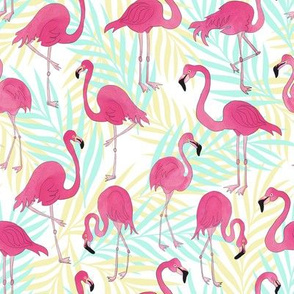 Flamingos an Palm Leaves Tropical