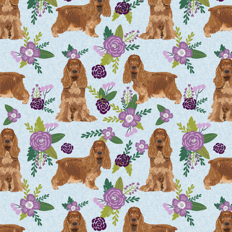cocker spaniel pet quilt c collection floral coordinate dog breed fabric fabric by petfriendly on Spoonflower - custom fabric