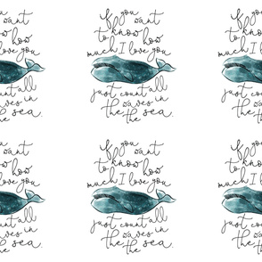 6 loveys: teal whale // if you want to know how much I love you // no lines