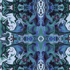 BN3 -  Large Marbled Mystery Tapestry in blues and teal green