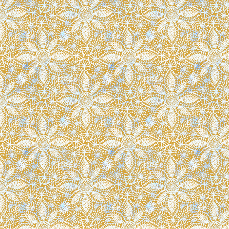 Rustic white lace (leaf yellow) fabric by helenpdesigns on Spoonflower - custom fabric